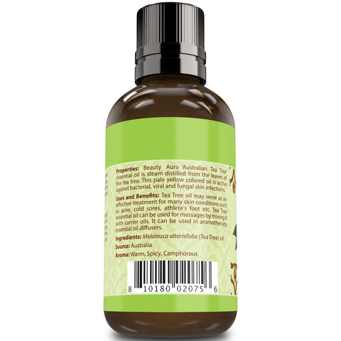 Beauty Aura 100% Pure Essential Oil, Undiluted, Therapeutic Grade 4 Fl Oz (118 Ml) (Australian Tea Tree) Support Skin Care & Help To Relieve Congestion
