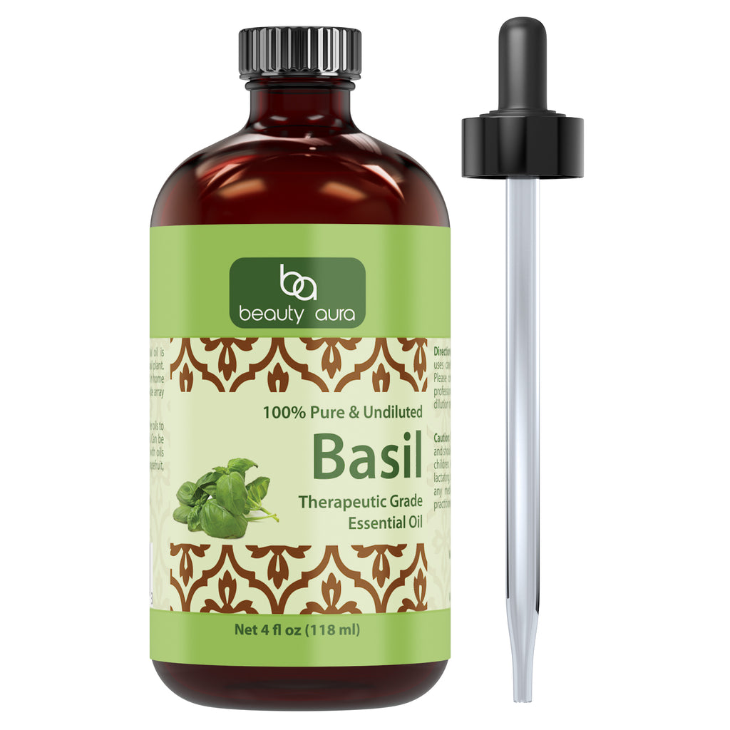 Beauty Aura Basil Essential Oil - 4 fl oz (118 ml) - Therapeutic Grade - Pure and Undiluted. Aromatherapy & Diffusers Beauty Care, Massages & More