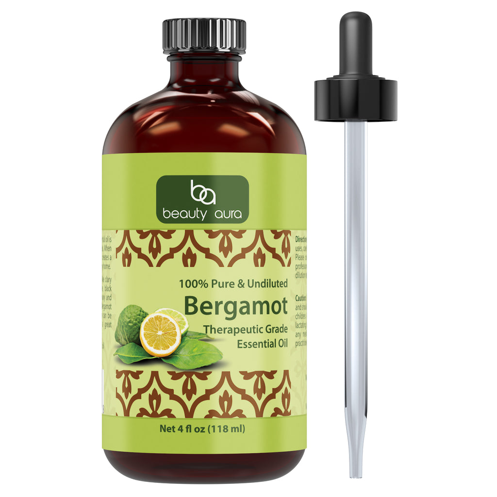 Beauty Aura Bergamot Essential Oil 4 Fl Oz 118 Ml
