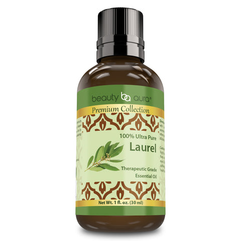 Image of Beauty Aura Premium Collection- Ultra Pure Laurel Essential Oil - 1 oz Bottle - Finest Quality Therapeutic Grade Essential Oils Ideal for Aromatherapy