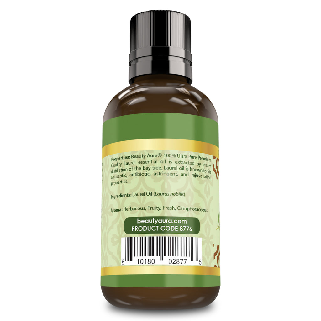 Beauty Aura Premium Collection- Ultra Pure Laurel Essential Oil - 1 oz Bottle - Finest Quality Therapeutic Grade Essential Oils Ideal for Aromatherapy