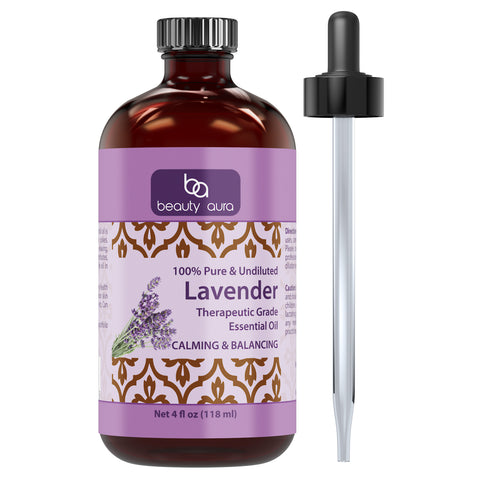 Image of Beauty Aura Lavender Essential Oil 4 Fl Oz 118 Ml