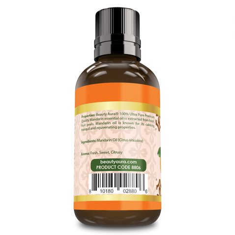 Beauty Aura Premium Collection- Ultra Pure Mandarin Essential Oil - 1 oz Bottle - Finest Quality Therapeutic Grade Essential Oils Ideal for Aromatherapy