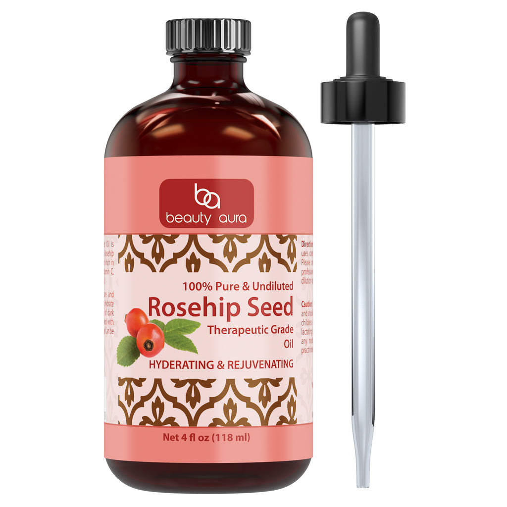 Beauty Aura 100% Pure Rosehip Seed Essential Oil - Therapeutic Grade Oil Made Rose Canina Rose Hips - Ideal for Aromatherapy - 4 Fl. Oz.