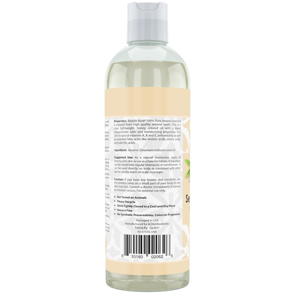 Beauty Aura Sesame Seed Oil 16 Fl Oz 473 Ml