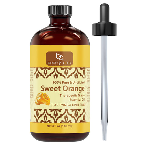 Image of Beauty Aura Sweet Orange Essential Oil 4 Fl Oz 118 Ml