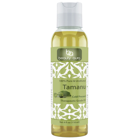 Image of Beauty Aura Tamanu Nut Oil - 4 Oz Bottle - 100% Pure - for Healthy Hair, Skin & Nails.