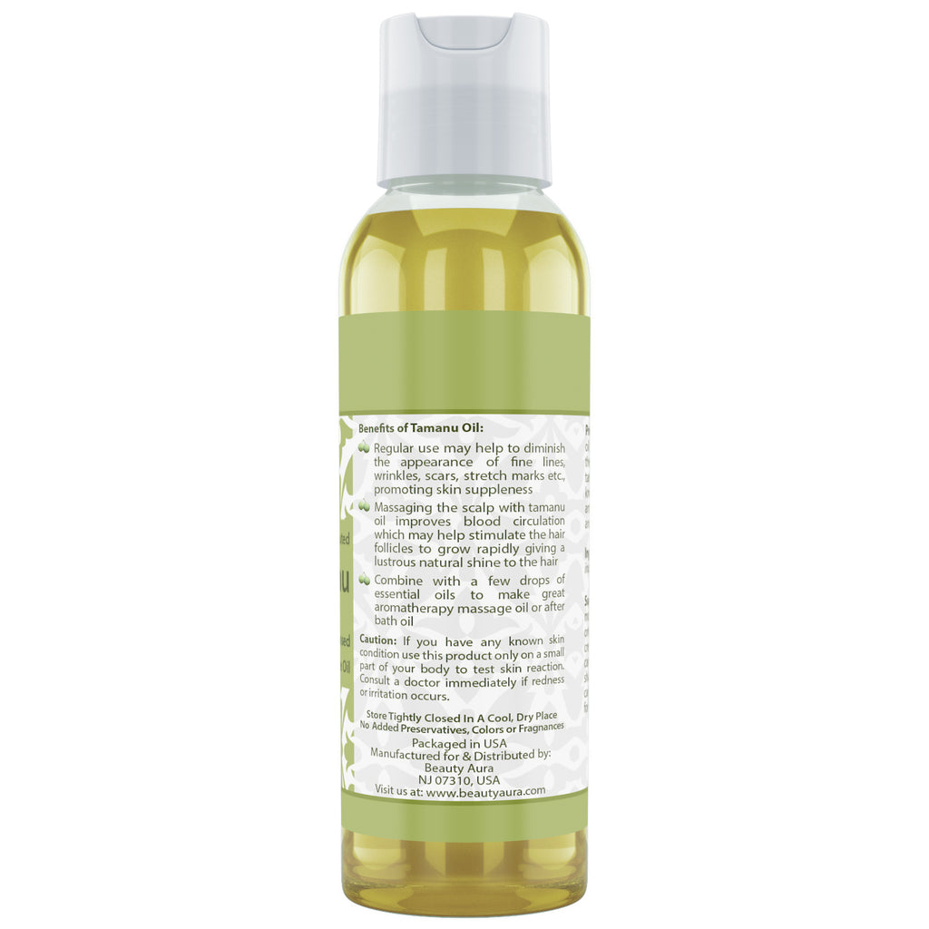 Beauty Aura Tamanu Nut Oil - 4 Oz Bottle - 100% Pure - for Healthy Hair, Skin & Nails.
