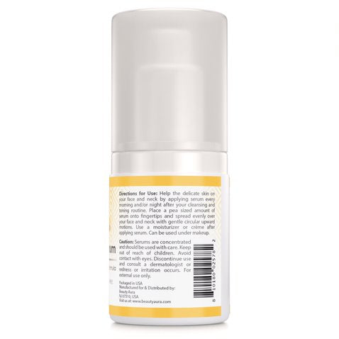Image of Beauty Aura Vitamin C Facial Serum - 2 Oz. Bottle - Hydrates, Brightens, Fade Age Spots & Wrinkles - 67% Organic Ingredients- Paraben Free, Sulfate Free, Gluten Free