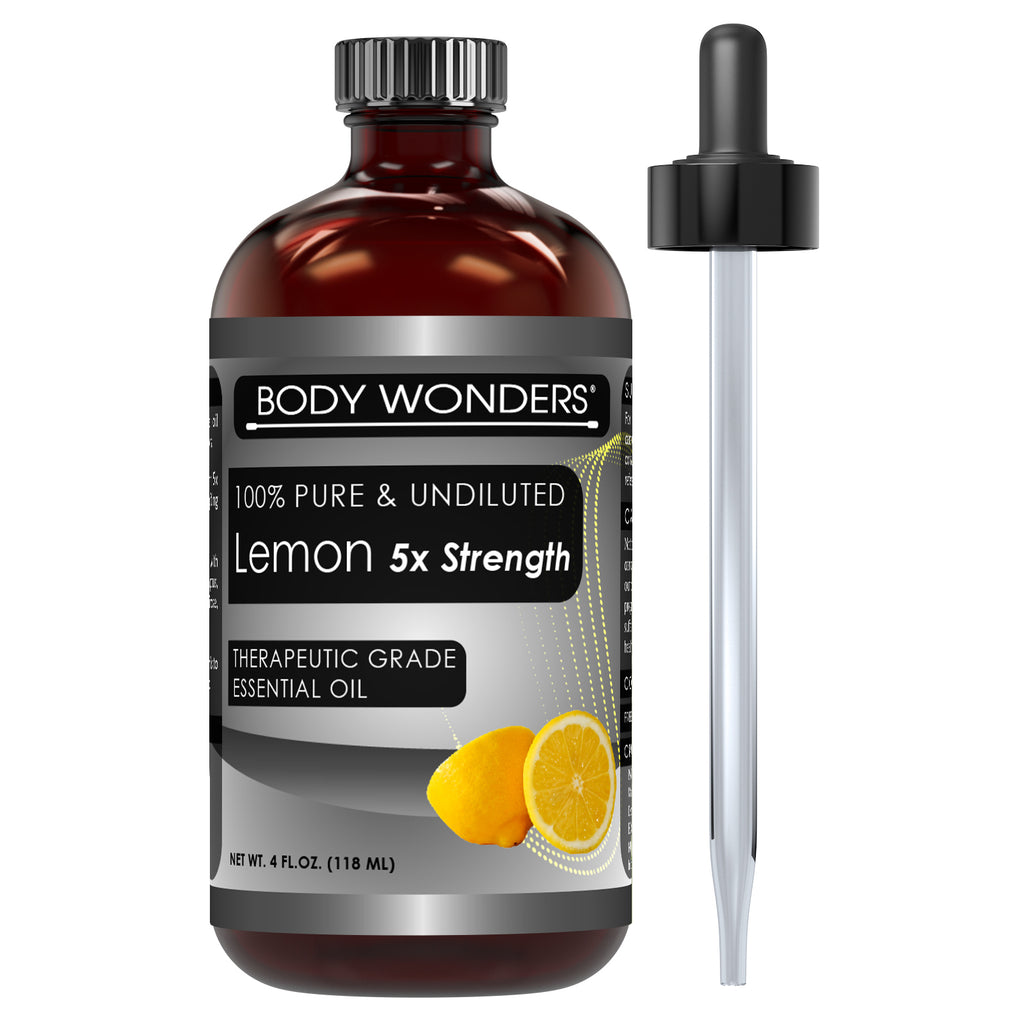 Body Wonders 100% Pure Lemon 5 x extra Strength Essential Oil 4 Fl Oz