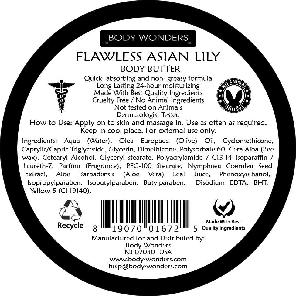 Body Wonders Flawless Asian Lily Deep Nourishing Body Butter 196 Gm 6.9 Fl Oz