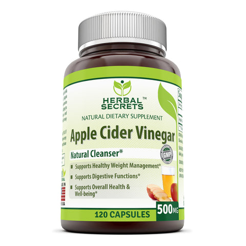 Image of Herbal Secrets Apple Cider Vinegar 500 mg 120 Capsules *Supports Healthy Weight Management *Supports Digestive Functions *Supports Overall Health & Well-Being