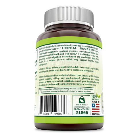 Image of Herbal Secrets Apple Cider Vinegar 500 mg 500 Capsules (Non-GMO) *Supports Healthy Weight Management *Supports Digestive Functions *Supports Overall Health & Well-Being (500)