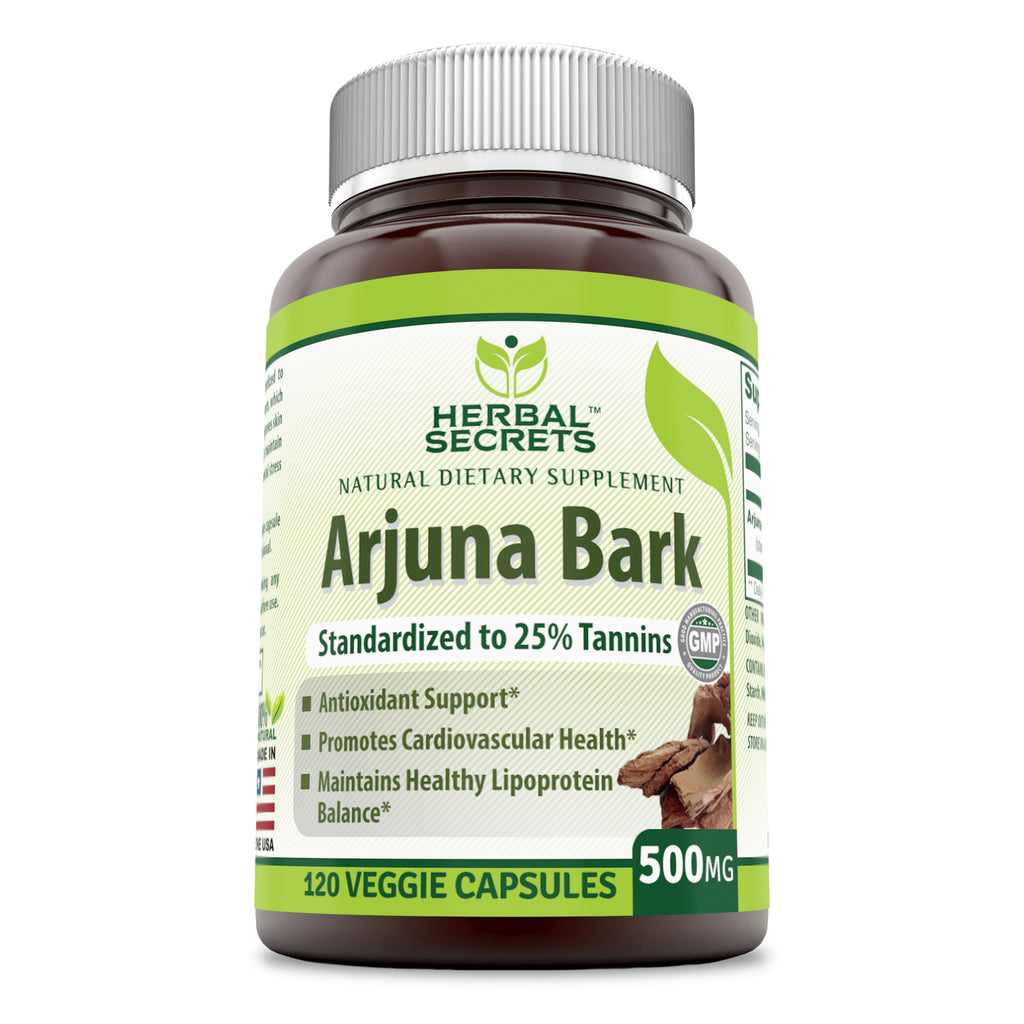 Herbal Secrets Arjuna Bark 500 Mg 120 Veggie Capsules (Non-GMO) Standardized to 25% Tannins - Antioxidant Support* Promotes Cardiovascular Health* Maintains Healthy Lipoprotein Balance