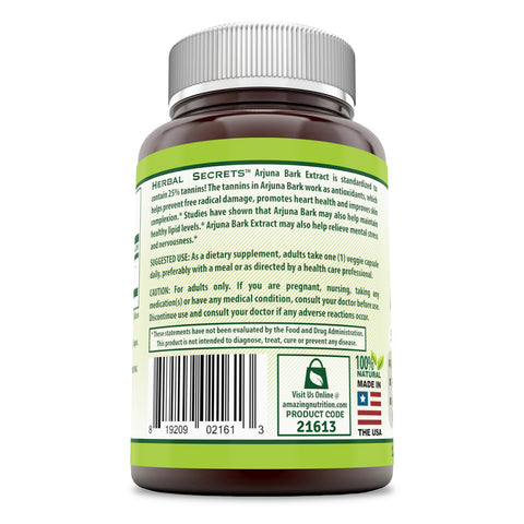Image of Herbal Secrets Arjuna Bark 500 Mg 120 Veggie Capsules (Non-GMO) Standardized to 25% Tannins - Antioxidant Support* Promotes Cardiovascular Health* Maintains Healthy Lipoprotein Balance