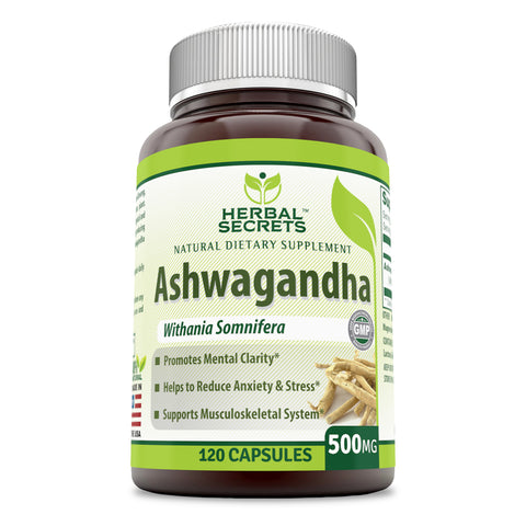 Image of Herbal Secrets Ashwagandha 500 Mg 120 Capsules