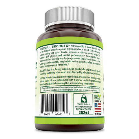 Herbal Secrets Ashwagandha 500 Mg 120 Veggie Capsules (Made with Organic Ashwagandha Root Powder),  (Non-GMO) - Promotes Mental Clarity - Helps Reduce Anxiety & Stress -Supports MusculoSkeletal System*