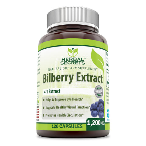 Image of Herbal Secrets Bilberry Extract 1200 Mg 120 Capsules