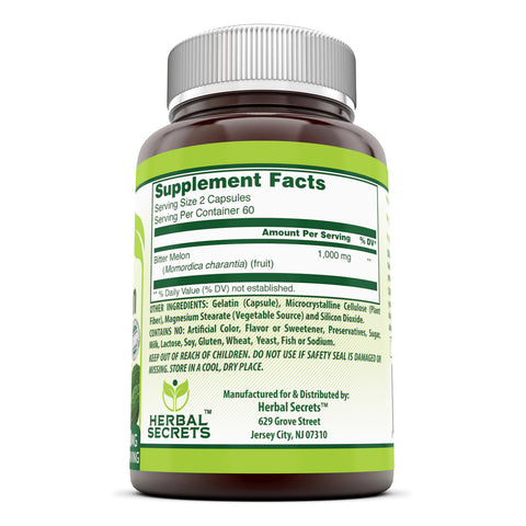 Image of Herbal Secrets Bitter Melon 1000 Mg 120 Capsules