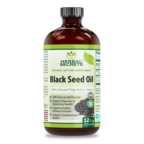Image of Herbal Secrets Black Seed Oil 12 Oz (Non-GMO) Natural Dietary Supplement - Supports Cardiovascular Health, Immune Function, Supports Respiratory Health