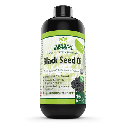 Image of Herbal Secrets Black Seed Oil Natural Dietary Supplement - Cold Pressed Black Cumin Seed Oil from 100% Genuine Nigella Sativa Oz bottle (16) Suppourt Digestive Health,Immune Health And Cardiovascular Helth.