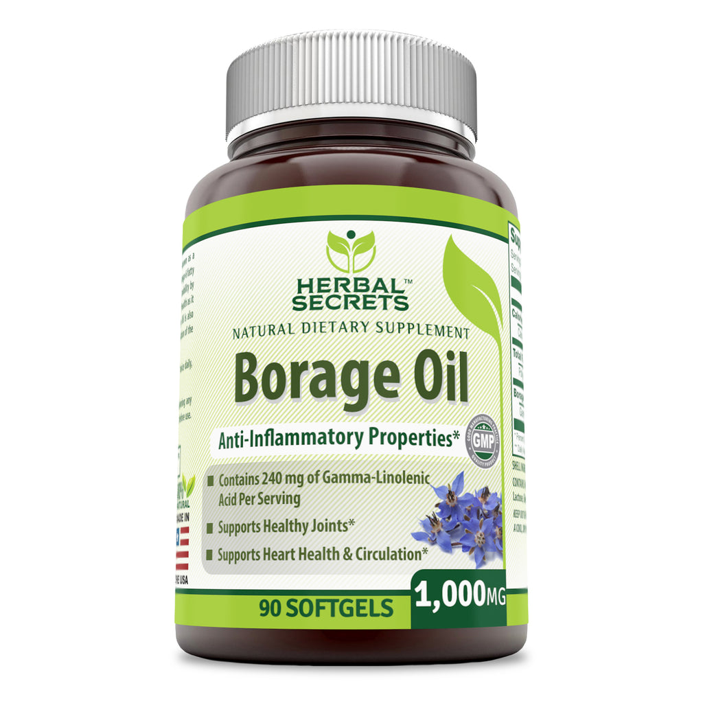Herbal Secrets Borage Oil 1000 Mg 90 Softgels (Non-GMO) - Contains 240 mg of Gamma-Linolenic Acid per Serving, Supports Healthy Joints, Heart Health & Circulation