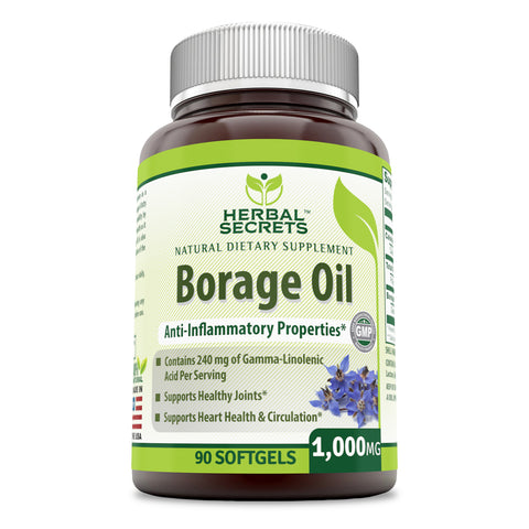 Image of Herbal Secrets Borage Oil 1000 Mg 90 Softgels (Non-GMO) - Contains 240 mg of Gamma-Linolenic Acid per Serving, Supports Healthy Joints, Heart Health & Circulation