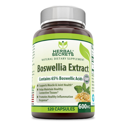 Image of Herbal Secrets Boswellia Serrata Extract (65% Boswellic Acids) 600 mg 120 Capsules (Non-GMO) - Non Synthetic- Supports Muscle & Joint Health, Promotes Healthy Inflammation Response