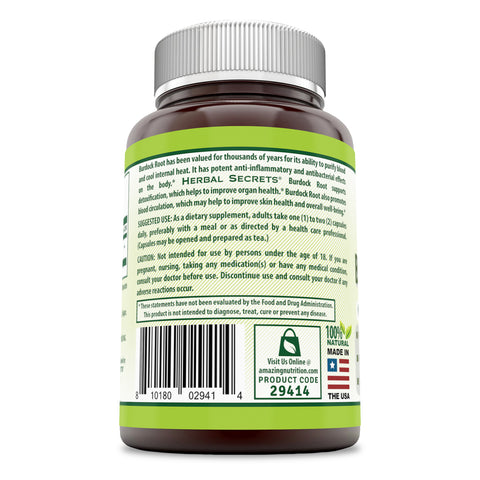 Image of Herbal Secrets Burdock Root 425 Mg 120 Capsules