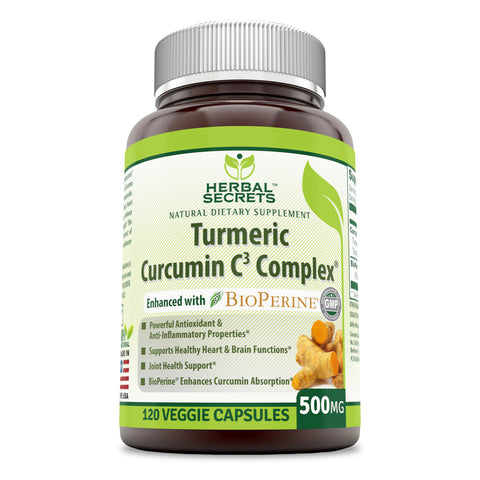 Image of Herbal Secrets Turmeric Curcumin C3 Complex 500 Mg 120 Veggie Capsules