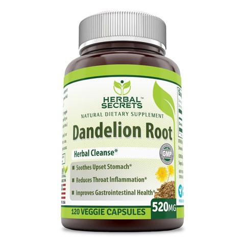 Herbal Secrets Dandelion Root 520 Mg 120 Veggie Capsules (Non-GMO) - Improve Gastrointestinal Health, Reduces Throat Inflammation, Soothes Upset Stomach
