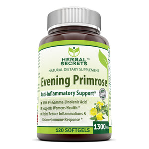 Herbal Secrets Evening Primrose Oil Supplement 1300 Mg 120 Softgels (Non-GMO) - High Potency- Contain 9% Gamma Linoleic - Anti-inflammatory Support, Supports Cardiovascular Health, Immune Function