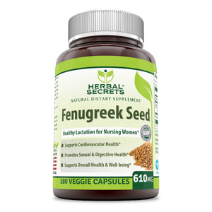 Herbal Secrets Fenugreek Seed - 610 Mg, 180 Veggie Capsules (Non-GMO) - Supports Overall Health and Well Being,Cardiovascular Health
