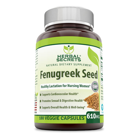 Image of Herbal Secrets Fenugreek Seed - 610 Mg, 180 Veggie Capsules (Non-GMO) - Supports Overall Health and Well Being,Cardiovascular Health