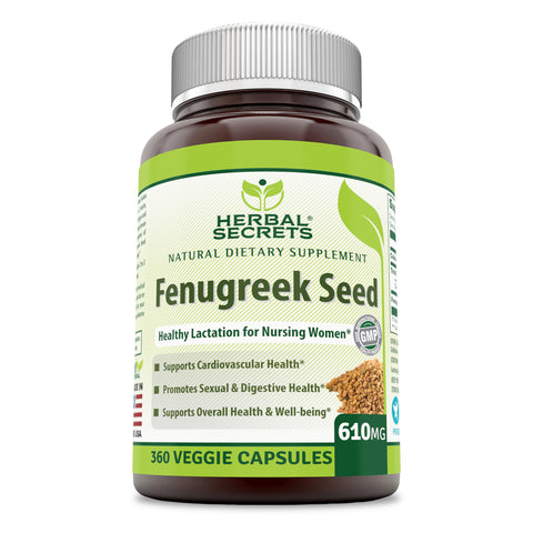 Image of Herbal Secrets Fenugreek Seed Supplement - 610 mg 360 Veggie Capsules (Non-GMO) Made with Pure Seed Extract - Support Healthy Lactation, Digestive Health and Overall Well-Being
