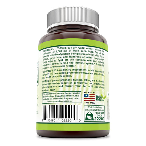 Image of Herbal Secrets Garlic 5000 Mg 120 Softgels