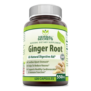Herbal Secrets Ginger Root Supplement 550 Mg (120 Capsules) (Non-GMO) - Helps to Reduce Nausea, Supports Cardiovascular & Immune Function, Soothes Upset Stomach*