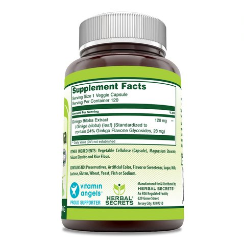 Herbal Secrets Ginkgo Biloba Supplement - 120 mg 120 Capsules (Non-GMO) Ginkgo Leaf Extract- Standardized to Contain 24% Ginkgo Flavone Glycosides- Supports Brain Health,Mental Alertness And Promotes Health Circulation