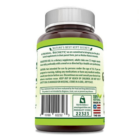 Image of Herbal Secrets Ginkgo Biloba Supplement - 60 mg 120 Capsules Ginkgo Leaf Extract (Standardized to Contain 24% Ginkgo Flavone Glycosides) in each Capsule -Supports Brain Health,Mental Alertness And Promotes Health Circulation