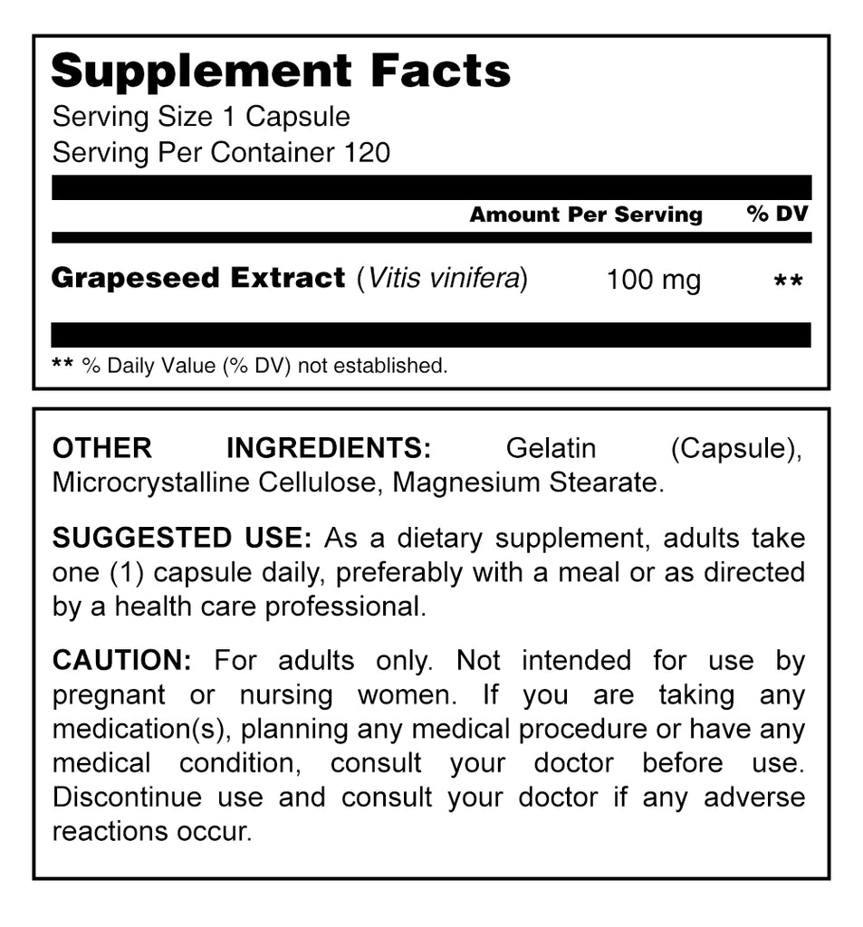 Herbal Secrets Grapeseed Extract 100 Mg 120 Capsules