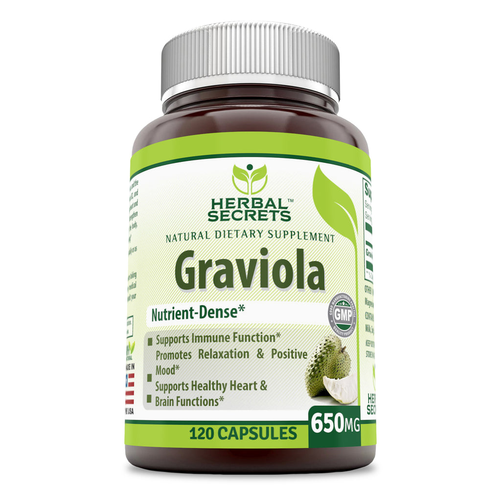 Herbal Secrets Graviola 650 Mg 120 Capsules