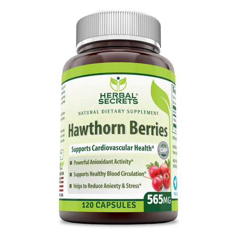 Herbal Secrets Hawthorn Berries 565 Mg 120 Capsules (Non-GMO) - Supports Cardiovascular Health, Helps Maintaining Existing Blood Level, Powerful Anioxidant Activity