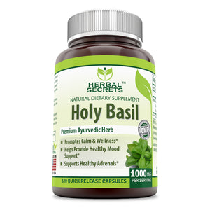 Herbal Secrets Holy Basil 1000 Mg Per Serving 120 Capsules