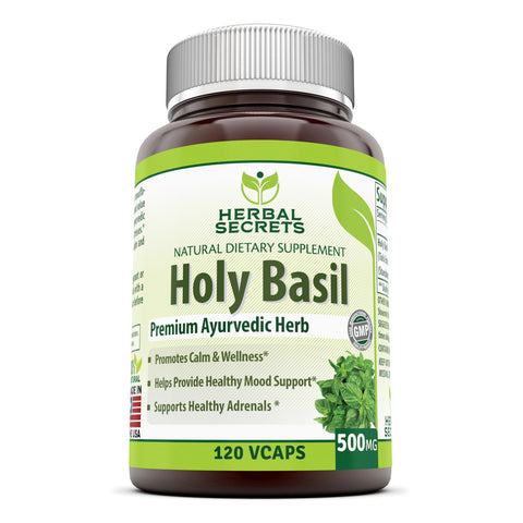 Herbal Secrets Holy Basil 500 Mg 120 Veggie Capsules (Non-GMO)- Promotes Calm & Wellness, Supports Healthy Adrenals, Helps Provide Healthy Mood Support