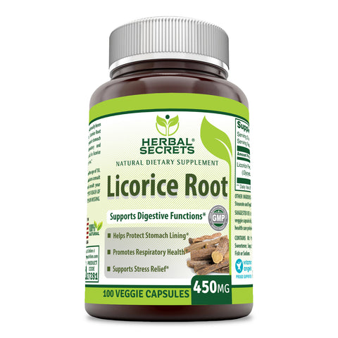 Image of Herbal Secrets Licorice Root 450 Mg 100 Veggie Capsules