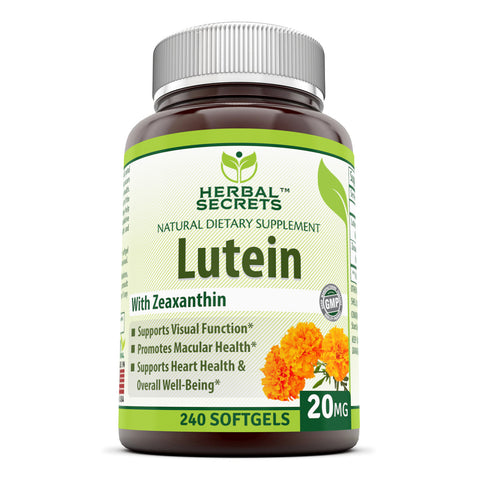 Image of Herbal Secrets Lutein with Zeaxanthin 20 Mg 240 Softgels (Non-GMO) - Supports Heart Health and Well Being* Support Visual Function* Promotes Macular Health*