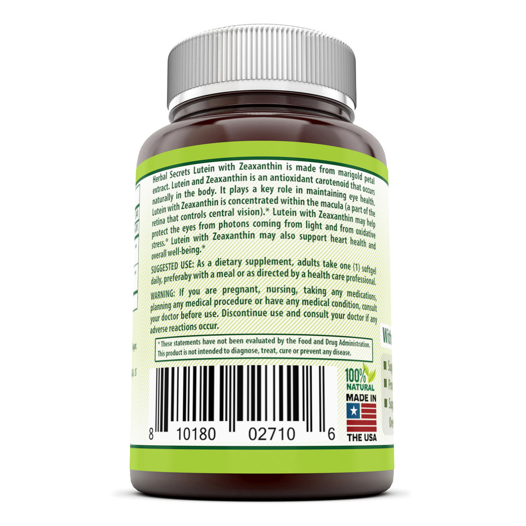 Herbal Secrets Lutein with Zeaxanthin 20 Mg 240 Softgels (Non-GMO) - Supports Heart Health and Well Being* Support Visual Function* Promotes Macular Health*