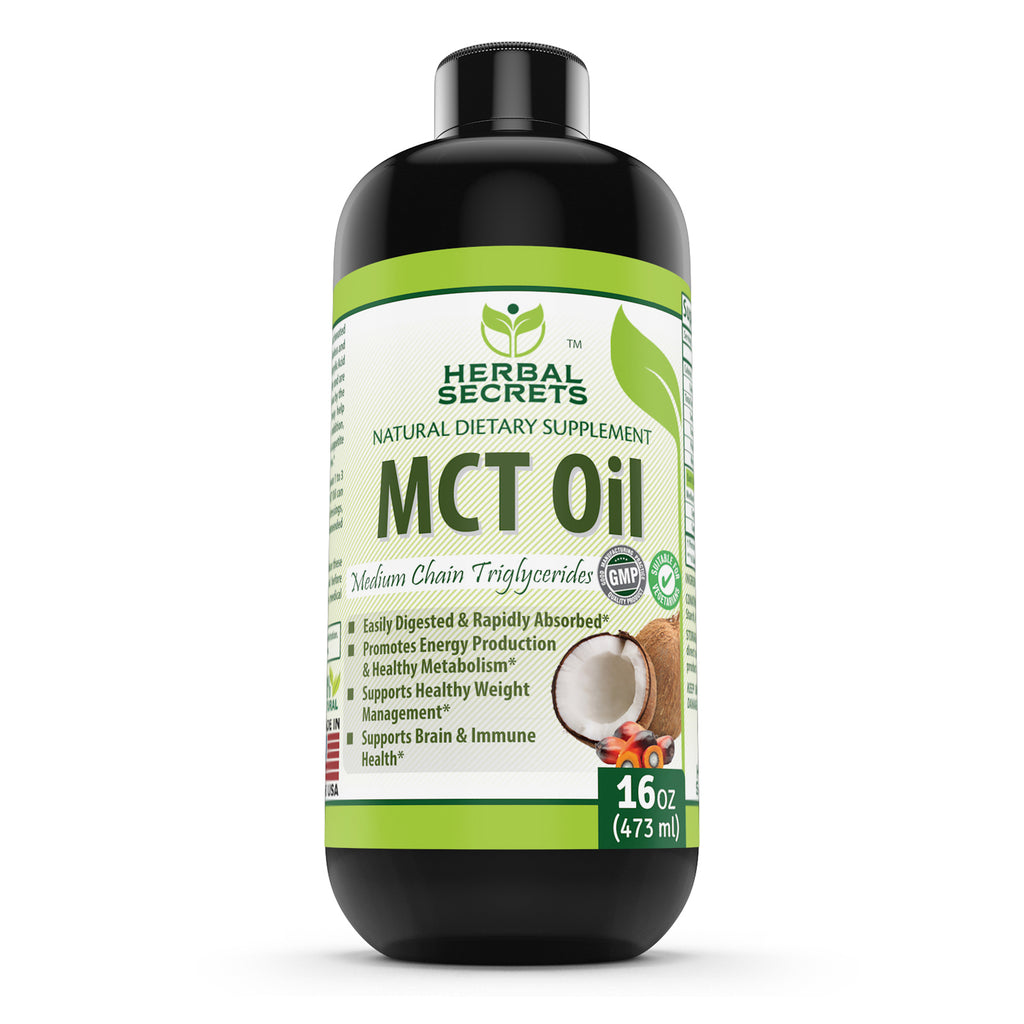 Herbal Secret 100% Pure MCT Oil, 16 Fl Oz (Non-GMO) - Helps in Weight Management * Maintain Lean Muscle Tissue* Supports Brain and Immune Health