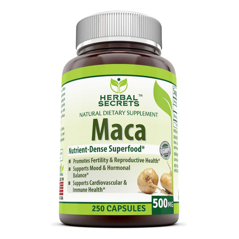 Image of Herbal Secrets Maca 500 Mg 250 Veggie Capsules (Non-GMO) - Supports Reproductive Health, Mood, Hormonal Balance, Cardiovascular Health & Immune Health