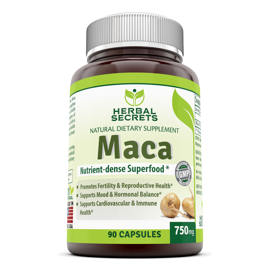 Herbal Secrets Maca 750 Mg 90 Capsules